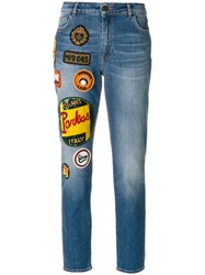 Mr And Mrs Italy Patches Straight Jeans Cotton Spandex Elastane Blue