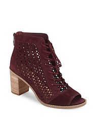 Vince Camuto Trevan Perforated Suede Booties Red