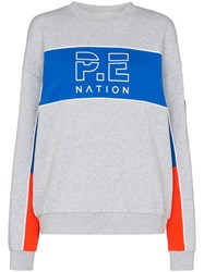P.E Nation Sonic Stripe Jersey Jumper Grey