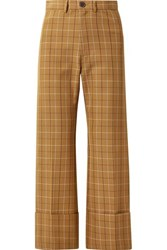 Sea Poirot Cropped Checked Cotton Blend Twill Straight Leg Pants Camel