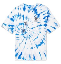 The Elder Statesman Printed Tie Dyed Cashmere And Silk Blend T Shirt Blue