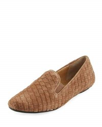 Neiman Marcus Woven Suede Slip On Loafer Brown