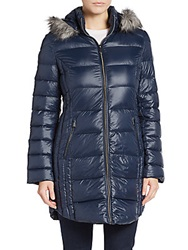 Saks Fifth Avenue Faux Fur Trimmed Hooded Puffer Coat Midnight Navy
