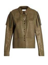Maison Martin Margiela Fringed Leather Jacket Khaki