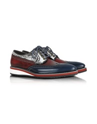 Forzieri Red White And Blue Leather Wingtip Derby Shoes Multicolor