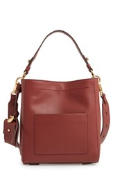 Cole Haan Small Zoe Leather Bucket Crossbody Bag Brown Fired Brick