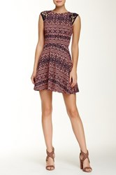 Necessary Objects Lace Shoulder Printed Fit And Flare Dress Multi