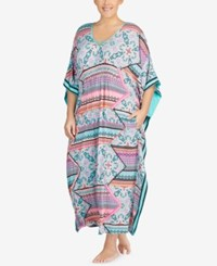Ellen Tracy Plus Size Printed Stripe Trimmed Caftan Coral Multi