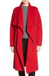 Badgley Mischka 'Audrey' Long Double Face Wrap Coat Red