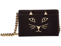 Charlotte Olympia Feline Purse Black Flock Suede Wallet Handbags