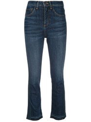 Veronica Beard High Rise Cropped Jeans Blue