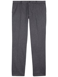 Jaeger Cotton Birdseye Slim Fit Trousers Grey