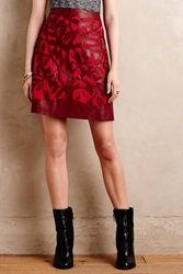 Floreat Perched Vegan Leather Mini Skirt Red Motif