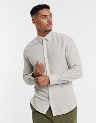 Only And Sons Slim Fit Linen Shirt In Stone
