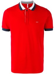 Sun 68 Contrast Polo Shirt Red