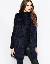 French Connection Chicago Faux Fur Gilet In Phantom Phantom Black