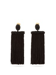 Oscar De La Renta Waterfall Tassel Drop Clip On Earrings Black