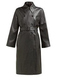 Joseph Romney Double Breasted Leather Coat Black