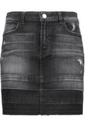 J Brand Leila Distressed Denim Mini Skirt Black