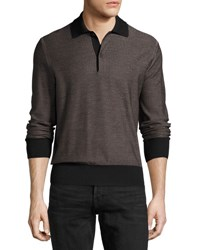 Tom Ford Micro Texture Long Sleeve Silk Merino Wool Polo Shirt Brown Black
