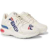 Fendi Logo Print Leather Sneakers Off White