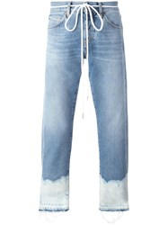Off White Bleached Hem Jeans Blue
