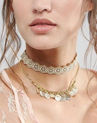 Asos Double Row Cut Out Choker Necklace Cream