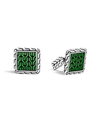 John Hardy Classic Chain Sterling Silver Enamel Square Cufflinks With Transparent Green Enamel Green Silver