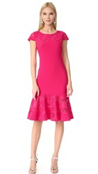 Marchesa Laser Cut Short Sleeve Dress Fuchsia