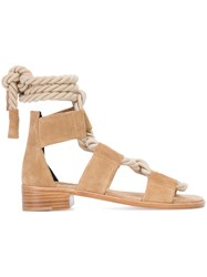 Pierre Hardy 'Azur' Sandals Women Leather Suede 40 Nude Neutrals