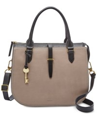 Fossil Ryder Leather Satchel Taupe Gold