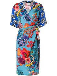 Paul Smith Floral Print Wrap Dress Blue