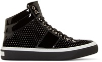 Jimmy Choo Black Polka Dot Belgravi High Top Sneakers