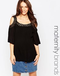 New Look Maternity Crochet Cold Shoulder Tunic Black