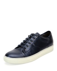 Lanvin Cap Toe Shiny Leather Low Top Sneaker Blue Size 42Eu 9Us