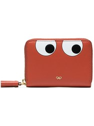 Anya Hindmarch Eye Motif Zip Wallet Leather Yellow Orange