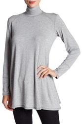 Cable And Gauge Turtleneck Oversize Tunic Gray