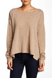 Cullen Asymmetric Hem Boatneck Cashmere Sweater Brown
