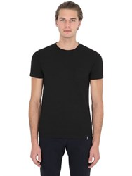 Drumohr Cotton Crepe T Shirt With Jersey Pocket