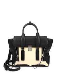 3.1 Phillip Lim Pashli Medium Two Tone Shark Embossed Leather Satchel Powder Black