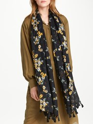 And Or Nevada Floral Tassel Scarf Black Mix