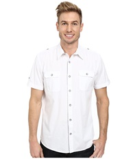 Dkny Short Sleeve 2 Pocket Military Solid Poplin Shirt White Men's Short Sleeve Pullover