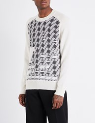 Maison Martin Margiela Houndstooth Knitted Jumper Off White