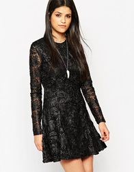 Rock And Religion Long Sleeve Lace Skater Dress With High Neck Black