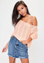 Missguided Pink Off Shoulder Cable Detail Knitted Jumper