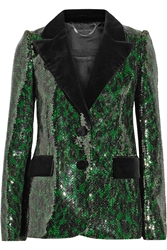 Marc Jacobs Velvet Trimmed Sequined Blazer