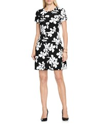Vince Camuto Short Sleeve Fresco Blooms A Line Floral Print Dress Rich Black White