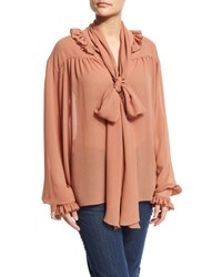 See By Chloe Long Sleeve Oversized Ruffle Trim Top Dusty Pink
