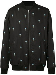 John Elliott Jellyfish Print Bomber Jacket Men Silk Cotton Viscose Tencel Xl Black
