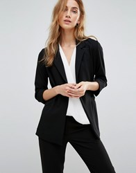 New Look Longline Wrap Front Blazer Black